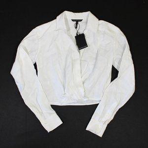 Marissa Webb Maxwell Linen Crop Shirt